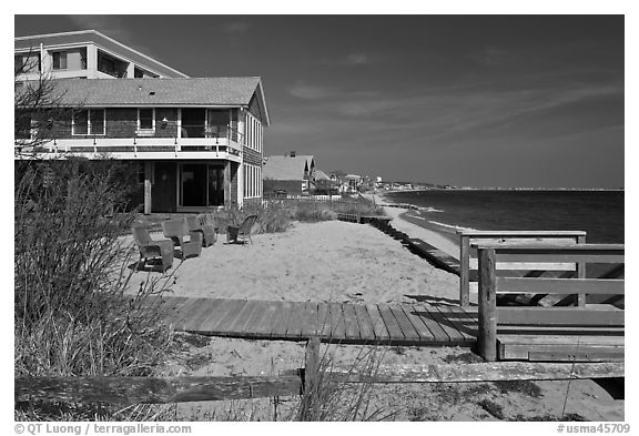 Beach houses, Provincetown. Cape Cod, Massachussets, USA (black and white)