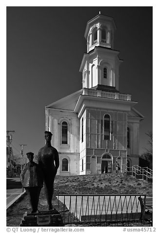 Former church reconverted into libary, Provincetown. Cape Cod, Massachussets, USA (black and white)