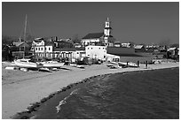 Yachts on beach and church, Provincetown. Cape Cod, Massachussets, USA ( black and white)
