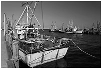 Commercial fishing boat, Provincetown. Cape Cod, Massachussets, USA ( black and white)
