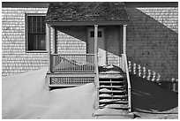 Porch and sands, Old Harbor life-saving station, Cape Cod National Seashore. Cape Cod, Massachussets, USA (black and white)