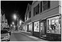 Art gallery and street by night, Provincetown. Cape Cod, Massachussets, USA ( black and white)