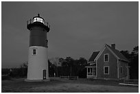Nauset Light by night, Cape Cod National Seashore. Cape Cod, Massachussets, USA (black and white)