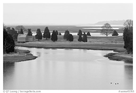 Salt Pond and boathouse, Sandwich. Cape Cod, Massachussets, USA (black and white)