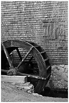 Waterwheel, Dexter Grist Mill, Sandwich. Cape Cod, Massachussets, USA (black and white)