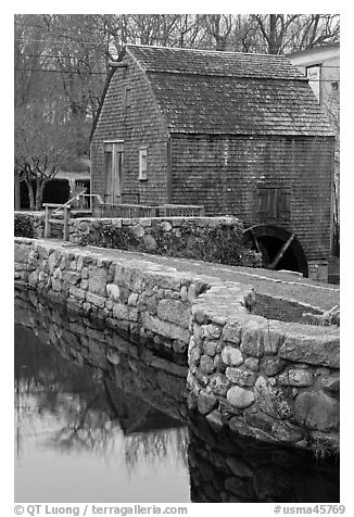 Dexter Grist Mill, Sandwich. Cape Cod, Massachussets, USA (black and white)