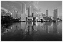 Boston skyline from harbor, sunrise. Boston, Massachussets, USA (black and white)