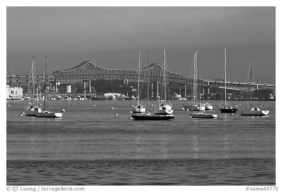 Harbor with anchored boats and bridge. Boston, Massachussets, USA (black and white)