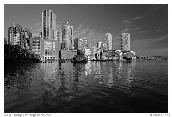 Rowes Wharf Skyline. Boston, Massachussets, USA (black and white)