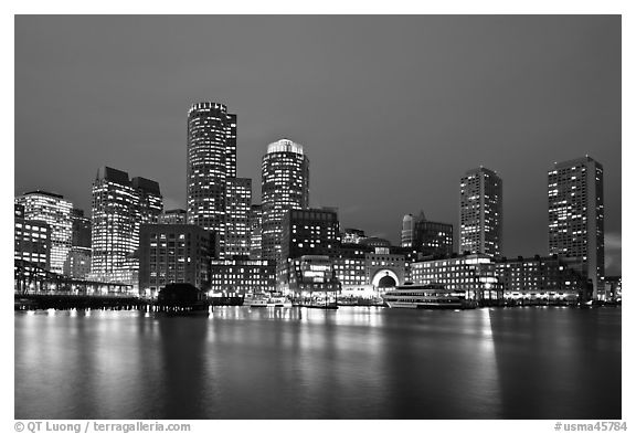 Financial district night skyline. Boston, Massachussets, USA (black and white)