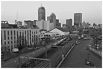 Railway, Northeastern University, and skyline at dusk. Boston, Massachussets, USA (black and white)