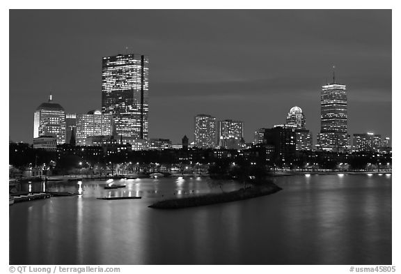 Back Bay skyline at night. Boston, Massachussets, USA (black and white)