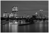 Back Bay skyline at night. Boston, Massachussets, USA ( black and white)
