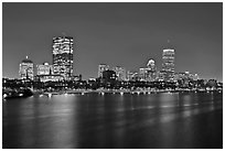 Charles River and Back Bay skyline by night. Boston, Massachussets, USA (black and white)