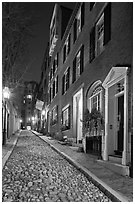Cobblestone alley by night, Beacon Hill. Boston, Massachussets, USA ( black and white)