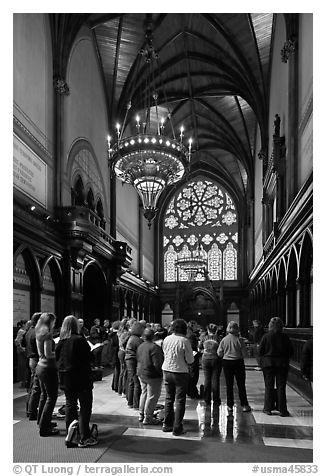 Choir reharsal in Memorial Hall, Harvard University, Cambridge. Boston, Massachussets, USA