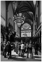 Choir reharsal in Memorial Hall, Harvard University, Cambridge. Boston, Massachussets, USA (black and white)