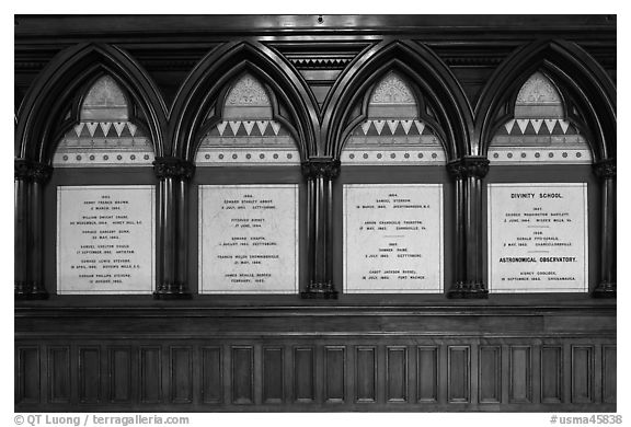 White marble tablets commemorating Civil War casualties, Memorial Hall, Harvard University, Cambridge. Boston, Massachussets, USA (black and white)