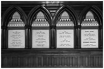 White marble tablets commemorating Civil War casualties, Memorial Hall, Harvard University, Cambridge. Boston, Massachussets, USA ( black and white)