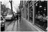 Charles Street on rainy day, Beacon Hill. Boston, Massachussets, USA ( black and white)