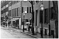 Beacon Hill street in the rain. Boston, Massachussets, USA ( black and white)