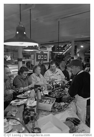 Patrons eating at Union Lobster House. Boston, Massachussets, USA (black and white)