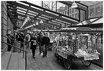 Pushcarts, Faneuil Hall Marketplace. Boston, Massachussets, USA (black and white)