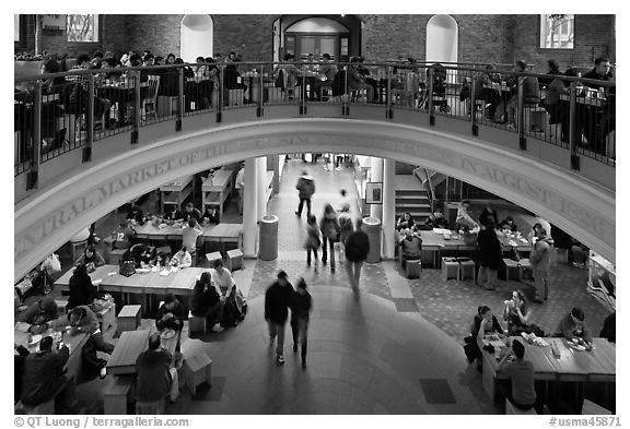 People dining, Quincy Market. Boston, Massachussets, USA (black and white)