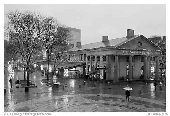 Faneuil Hall Marketplace on rainy day. Boston, Massachussets, USA (black and white)