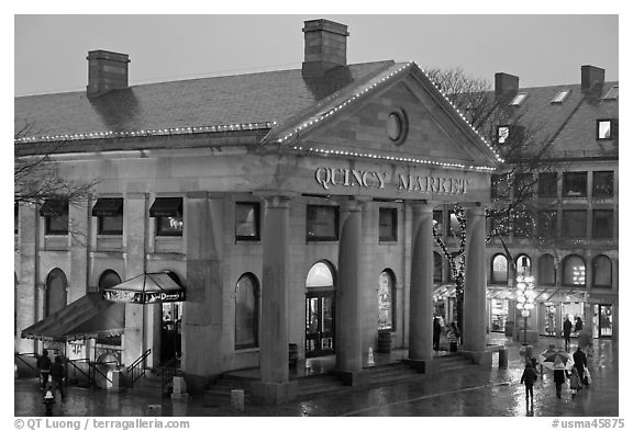 Quincy Market entrance at dusk. Boston, Massachussets, USA (black and white)