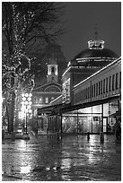 Quincy Market and Faneuil Hall at night. Boston, Massachussets, USA (black and white)