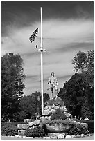 Minuteman Statue on Lexington Common, Lexington. Massachussets, USA (black and white)