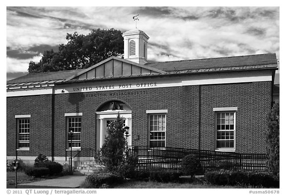 Post Office, Lexington. Massachussets, USA (black and white)