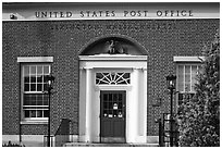 US Post Office brick building facade, Lexington. Massachussets, USA (black and white)