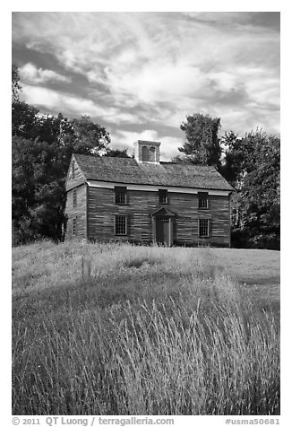 Historic house, Minute Man National Historical Park. Massachussets, USA (black and white)