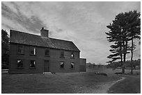 Meriam House, sunset, Minute Man National Historical Park. Massachussets, USA (black and white)