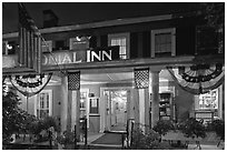 Colonial Inn restaurant at night, Concord. Massachussets, USA (black and white)