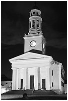 First Parish at night, Concord. Massachussets, USA ( black and white)