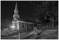 Holly Family church and graveyard at night, Concord. Massachussets, USA (black and white)