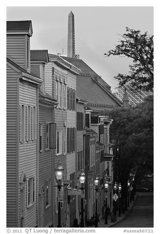 Houses on Breeds Hill at dawn, Charlestown. Boston, Massachussets, USA (black and white)