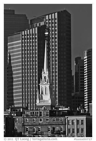 Old North Church and high-rise buildings. Boston, Massachussets, USA (black and white)