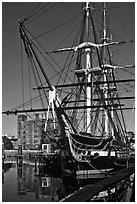 USS Constitution, Boston Historical Park. Boston, Massachussets, USA ( black and white)
