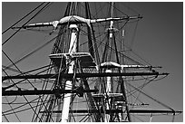 Masts of frigate USS Constitution. Boston, Massachussets, USA (black and white)