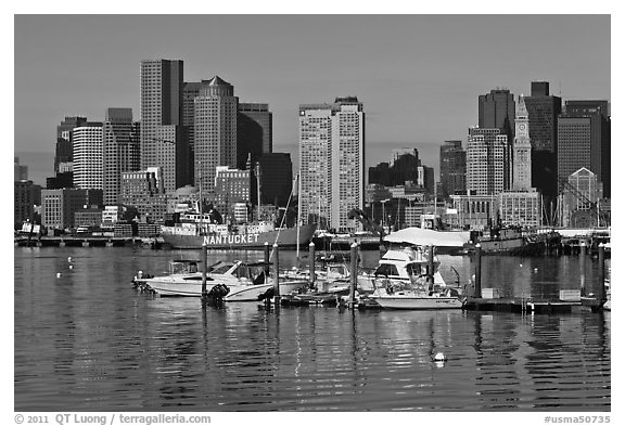 Bostron harbor and financial district. Boston, Massachussets, USA (black and white)