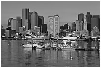 Bostron harbor and financial district. Boston, Massachussets, USA ( black and white)