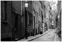 Narrow street on Beacon Hill. Boston, Massachussetts, USA ( black and white)