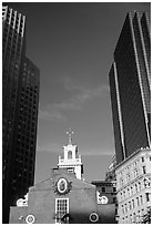 Old State House and Financial District skyscrapers. Boston, Massachussets, USA ( black and white)
