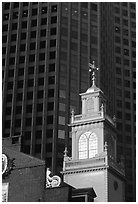 Old State House  skycrapers in downtown. Boston, Massachussetts, USA ( black and white)