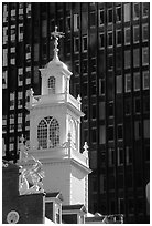 Old State House (oldest public building in Boston) and glass facade. Boston, Massachussets, USA ( black and white)
