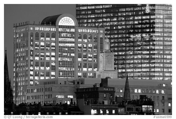 Old churches and modern glass buildings at dusk. Boston, Massachussets, USA (black and white)